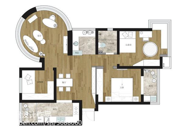 优雅71平现代三居装修设计图