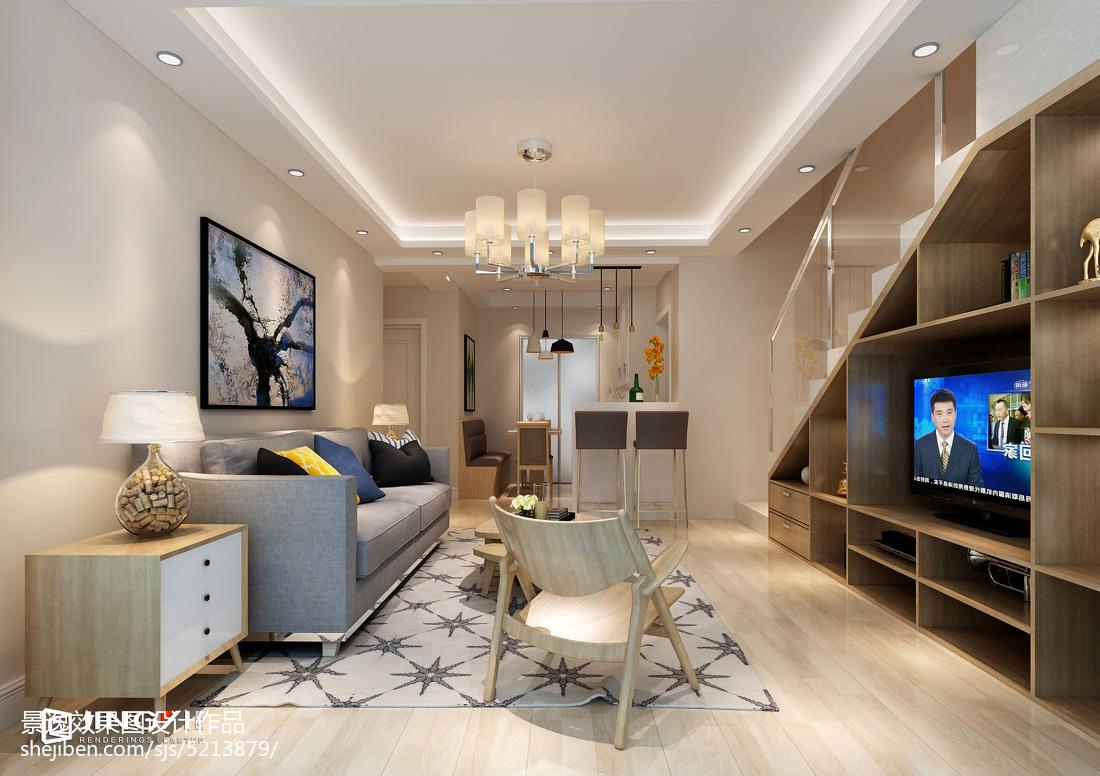 日式公寓家装电视背景墙效果图