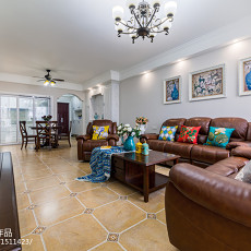 2018精选面积91平美式三居客厅装修欣赏图
