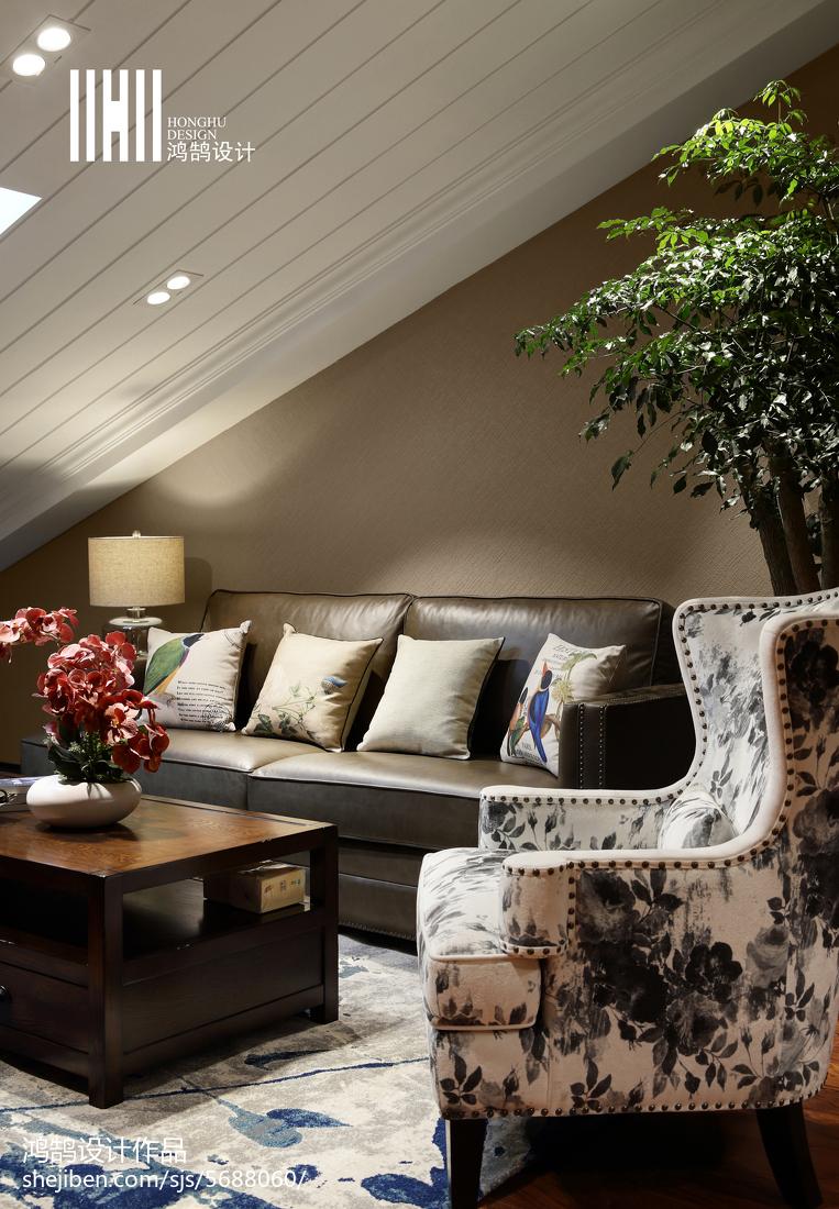 2018面积136平复式客厅美式实景图片大全