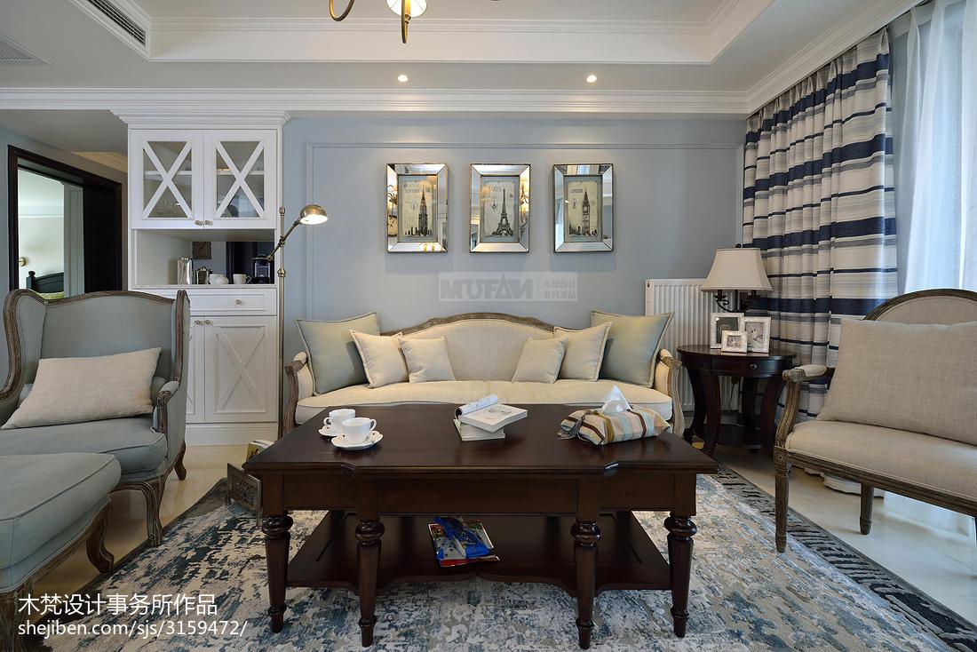 热门77平米二居客厅美式装修设计效果图片