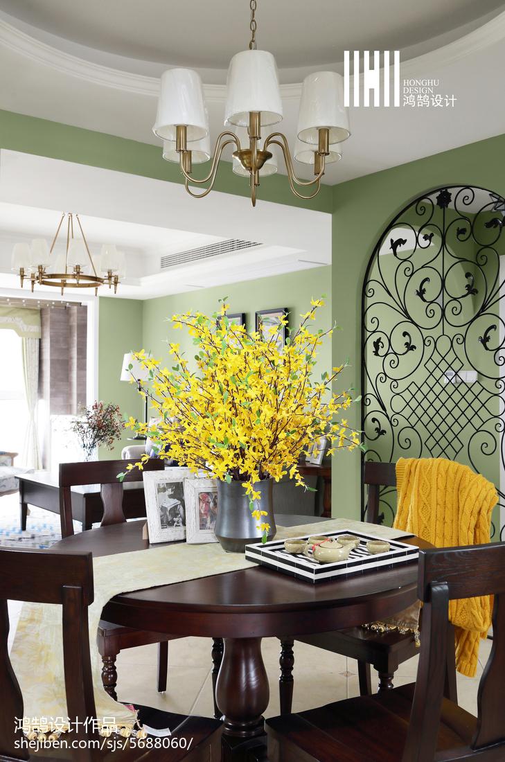 热门103平米三居餐厅美式装饰图片欣赏