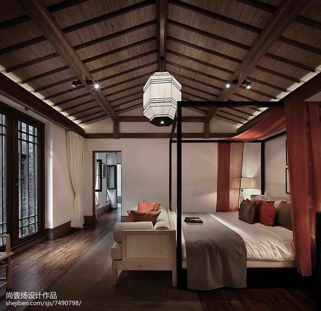 热门面积123平别墅卧室中式效果图片欣赏