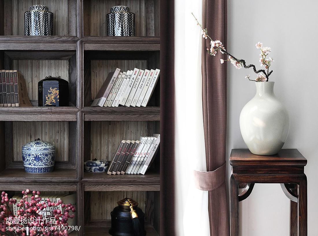 热门面积116平别墅书房中式效果图片