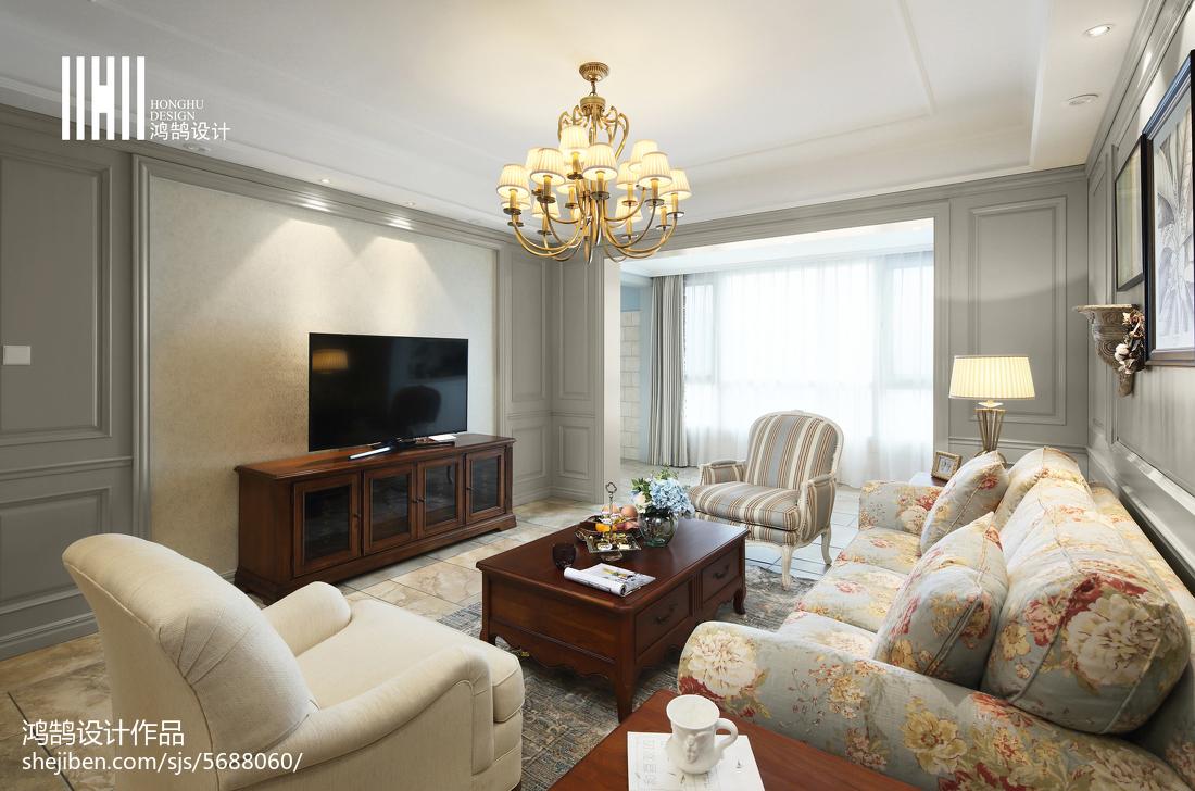 热门131平米四居客厅美式装修欣赏图片