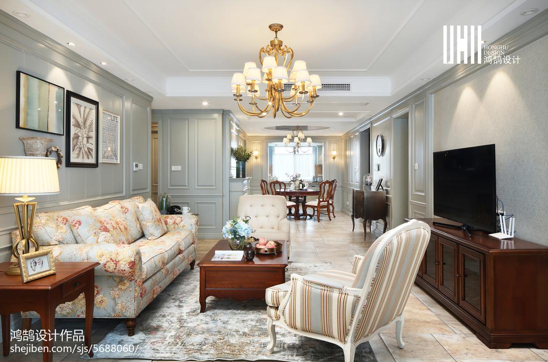 精美面积135平美式四居客厅装修图片大全