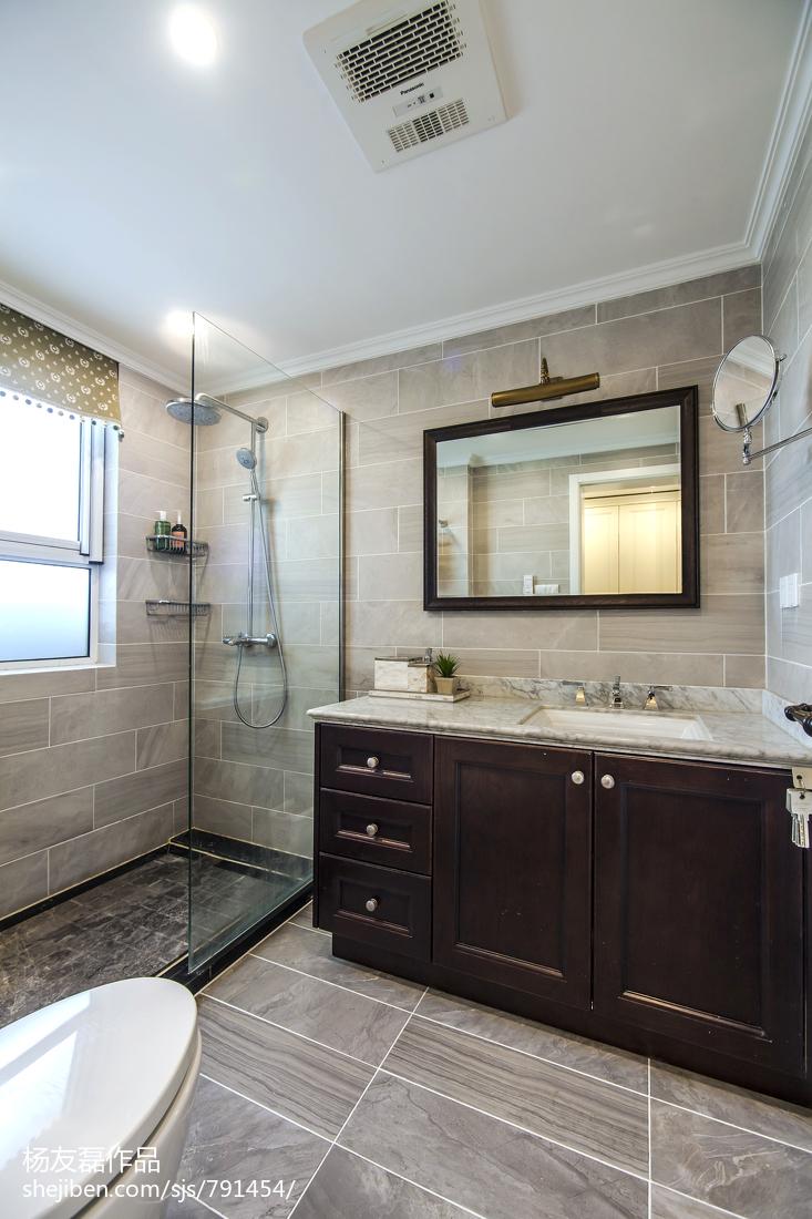 2018面积96平美式三居卫生间装修欣赏图片大全