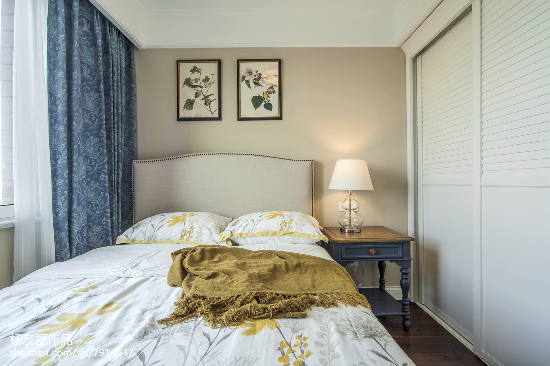 热门面积103平美式三居卧室装修设计效果图