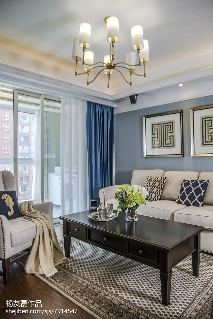 精美93平方三居客厅美式装修效果图片欣赏