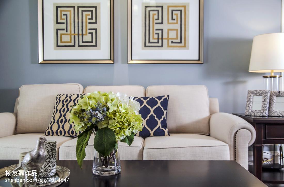 2018精选面积108平美式三居客厅装修效果图