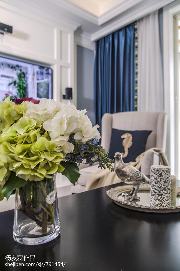 面积94平美式三居客厅装修设计效果图片大全