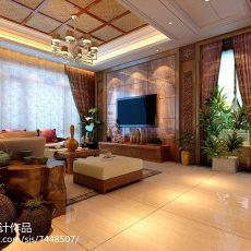 热门面积81平东南亚二居客厅装修实景图片大全