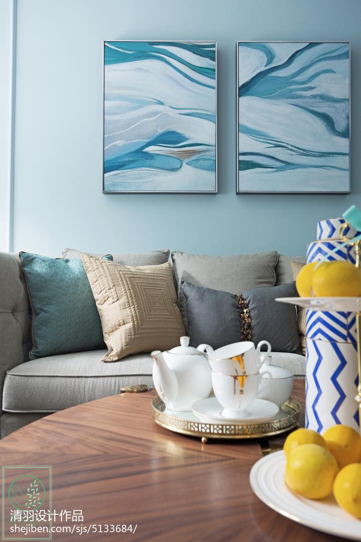 浪漫130平美式三居客厅实拍图