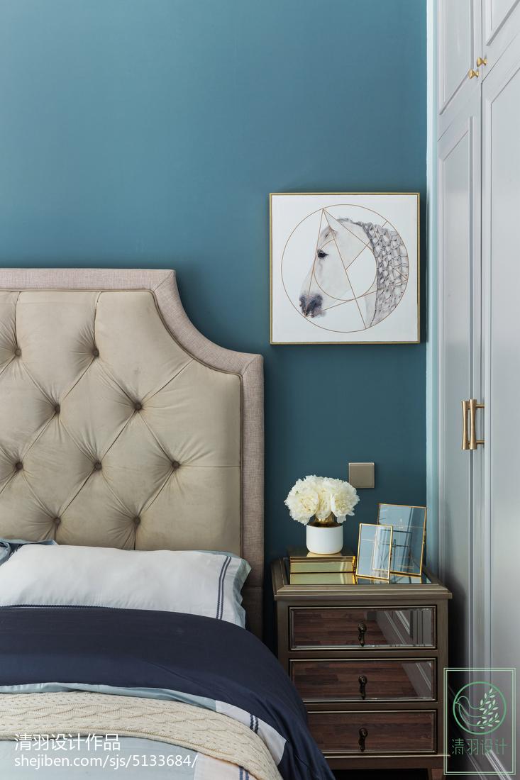 面积107平美式三居卧室欣赏图片