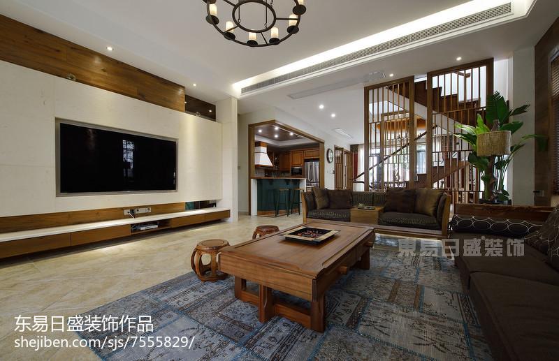 新中式風格別墅背景墻裝修