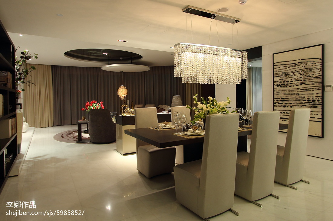 热门面积135平简约四居餐厅装修图片大全