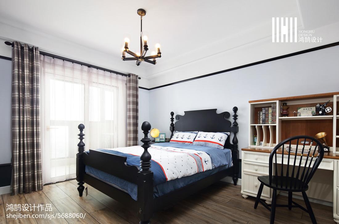 热门136平米美式别墅卧室实景图片大全