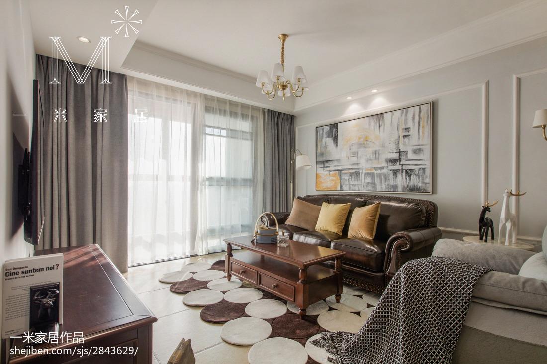 热门大小91平美式三居客厅实景图片