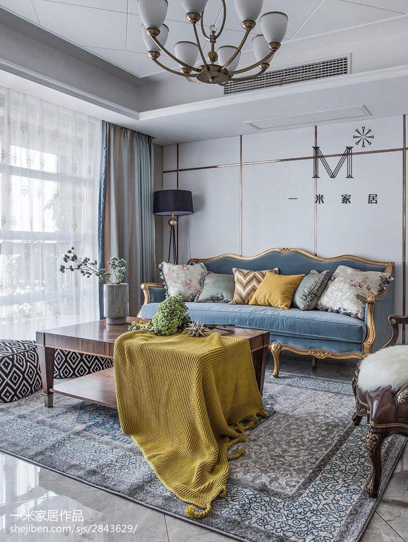 面积93平美式三居客厅效果图片大全