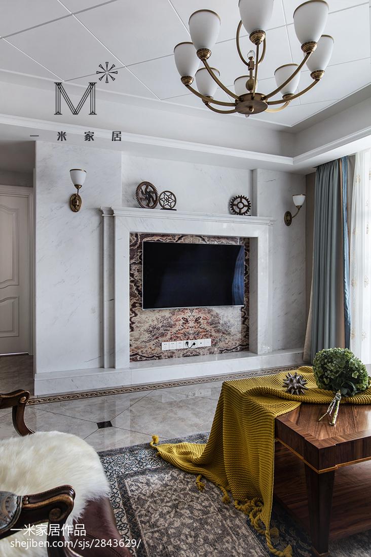 2018大小105平美式三居客厅装修实景图片