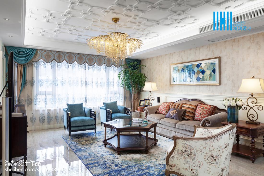 2018精选面积117平别墅客厅美式实景图片欣赏
