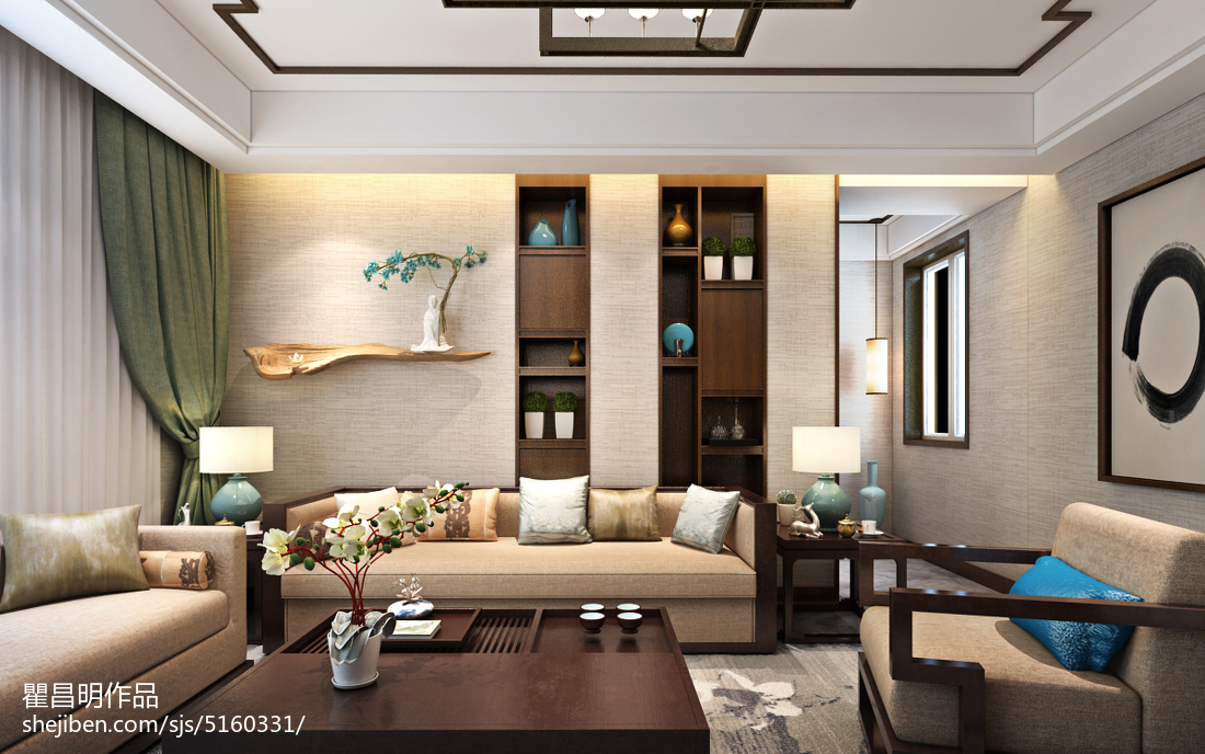 客厅改卧室效果图_新中式沙发图片-土巴兔装修效果图