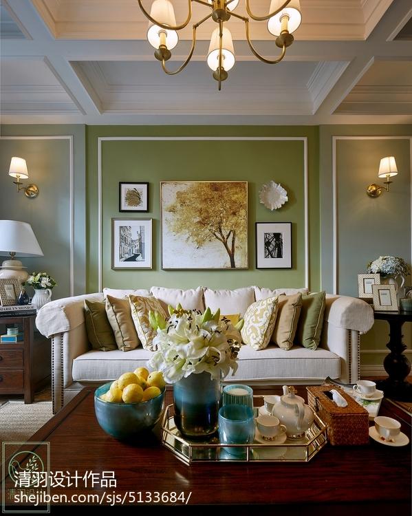 浪漫93平美式二居客厅装修效果图