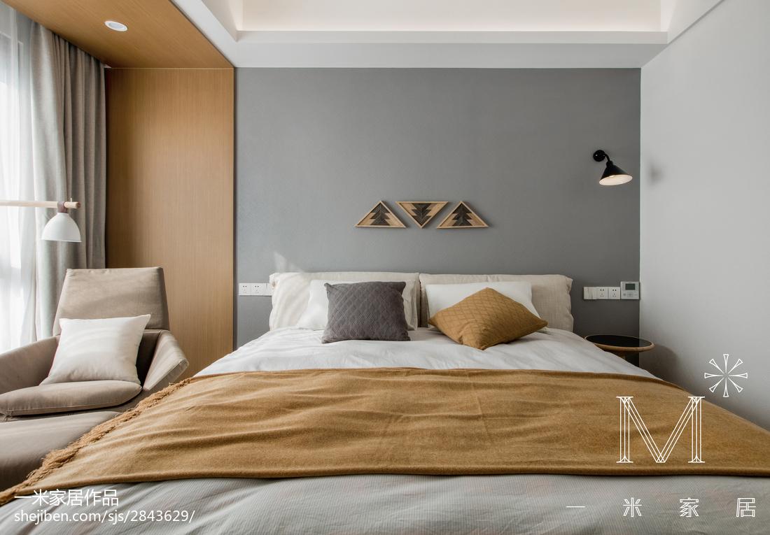 2018精选90平米三居卧室北欧装饰图