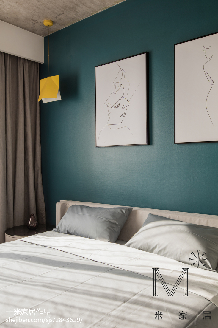 精美面积106平北欧三居卧室效果图片