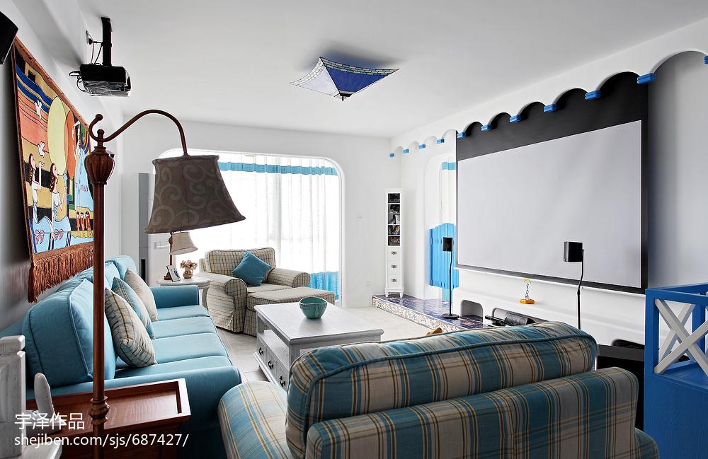 地中海風格三居室客廳裝修