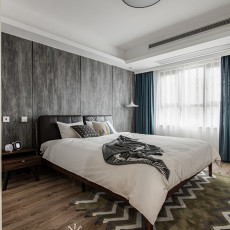 大小106平现代三居卧室实景图