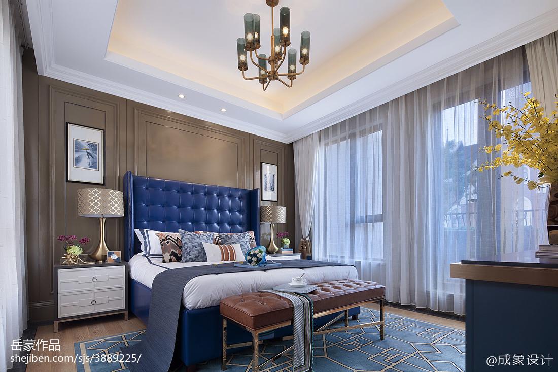 蓝色系欧式卧室装饰图