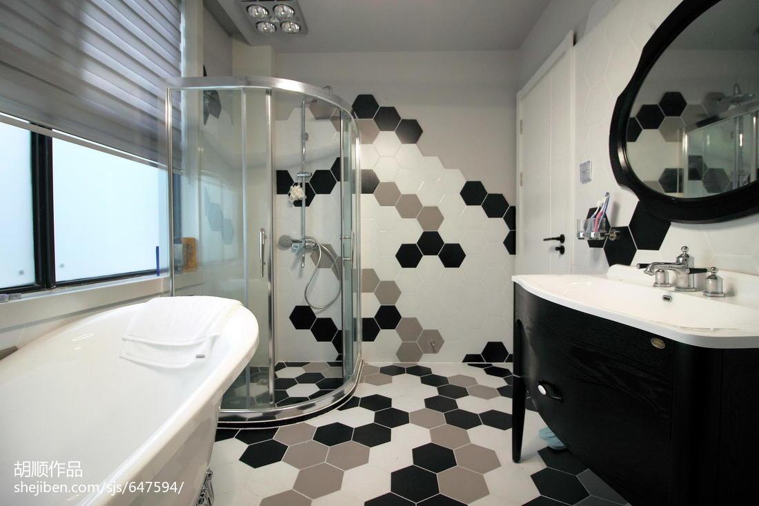 温馨54平现代复式卫生间实景图片