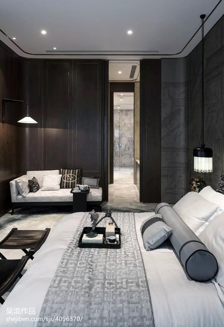142平米中式别墅卧室效果图片大全