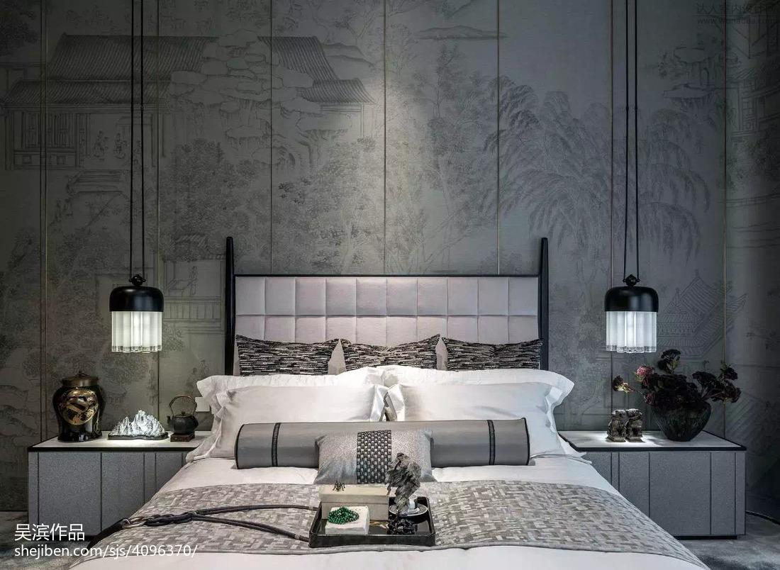 热门114平米中式别墅卧室效果图片