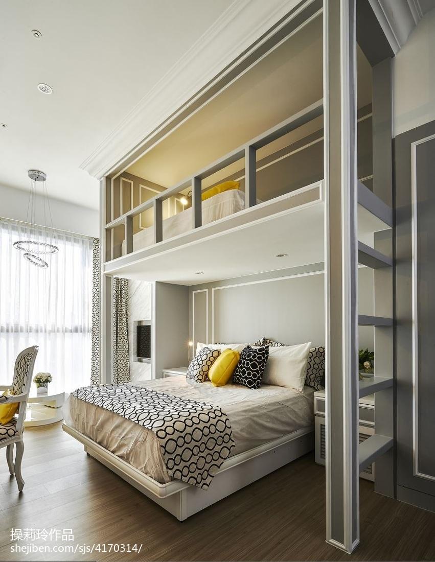 2018精选85平米混搭小户型卧室装修设计效果图
