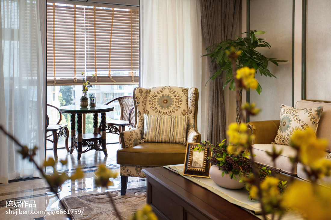 2018面积118平美式四居客厅效果图片