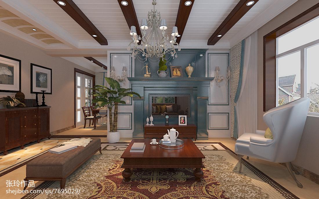热门92平米三居中式装修设计效果图片