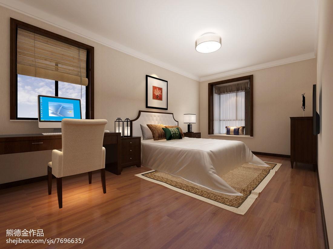 热门面积91平中式三居卧室装修实景图片欣赏