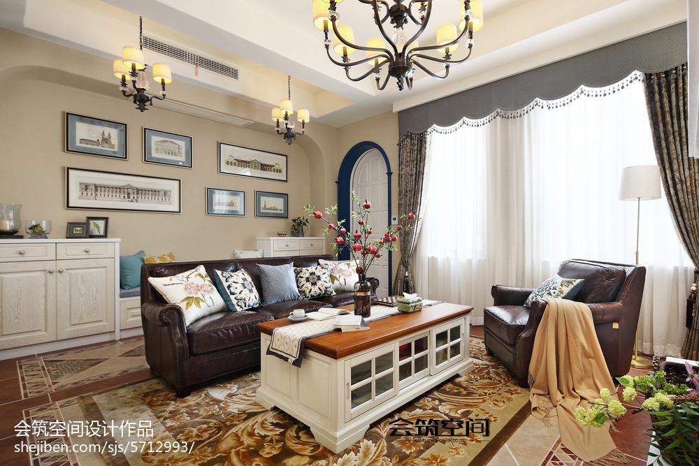 2018135平米美式复式客厅装修图