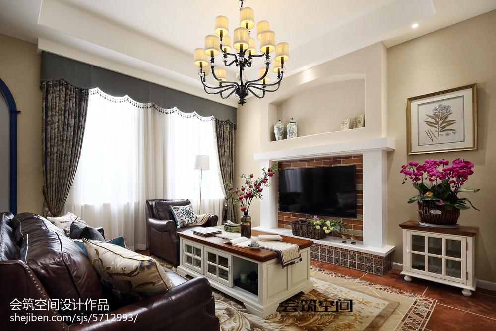热门美式复式客厅装修欣赏图片