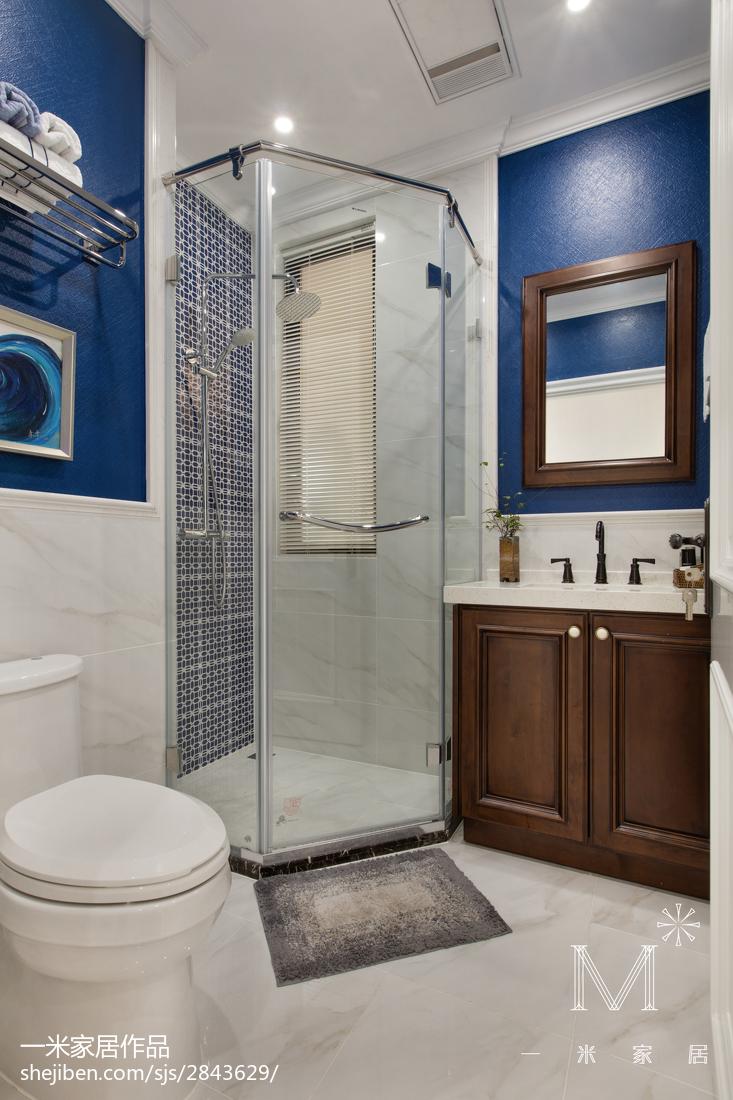 优美123平美式三居卫生间效果图