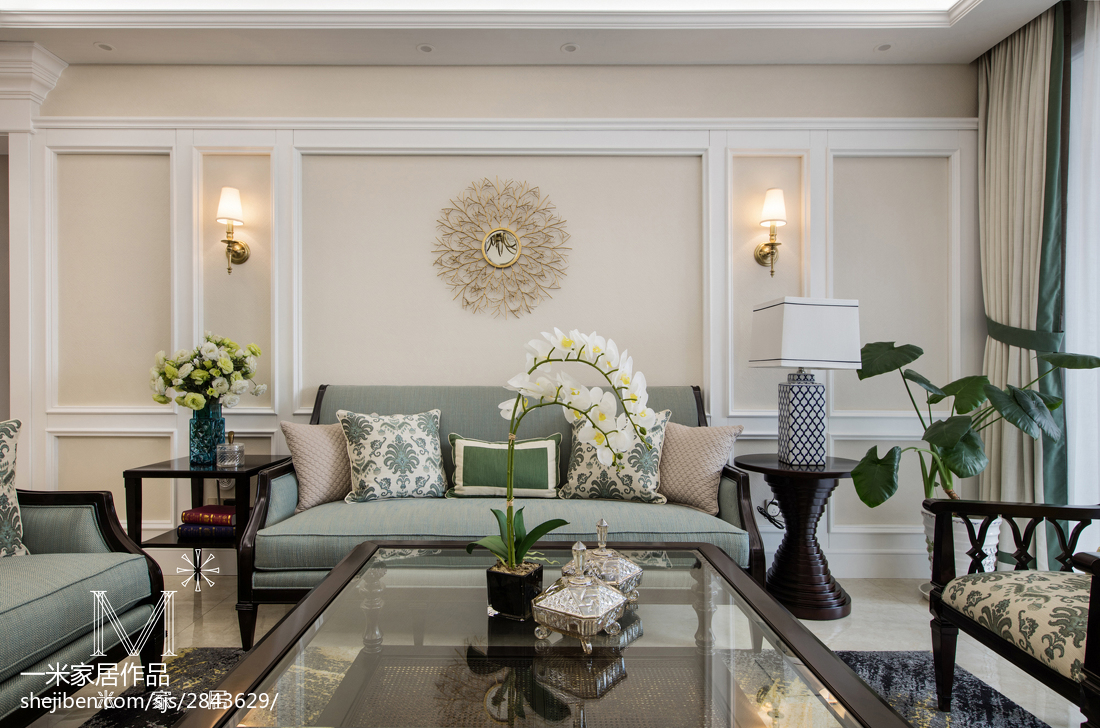 2019107平美式三居客厅设计效果图