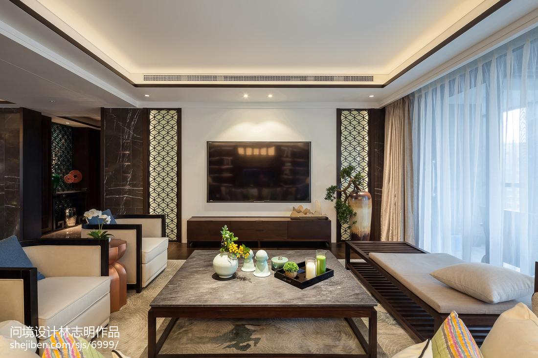 面积104平中式三居客厅装饰图片欣赏