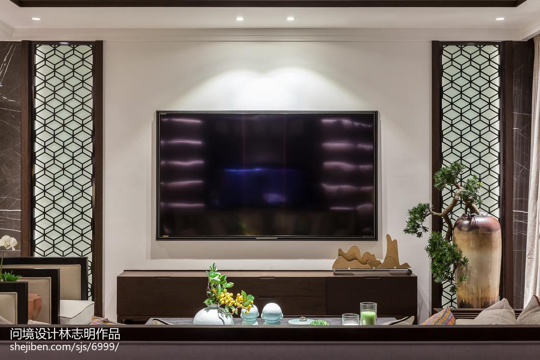 2018106平米三居客厅中式装修效果图片欣赏