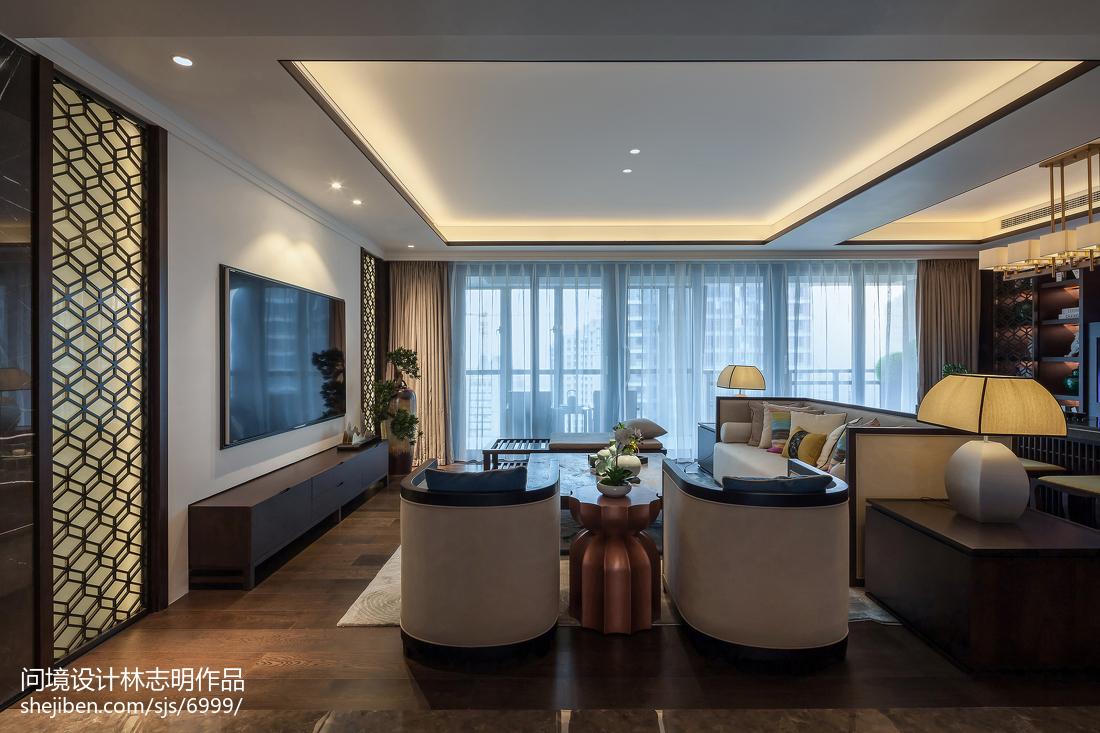 2018精选面积101平中式三居客厅装修实景图片