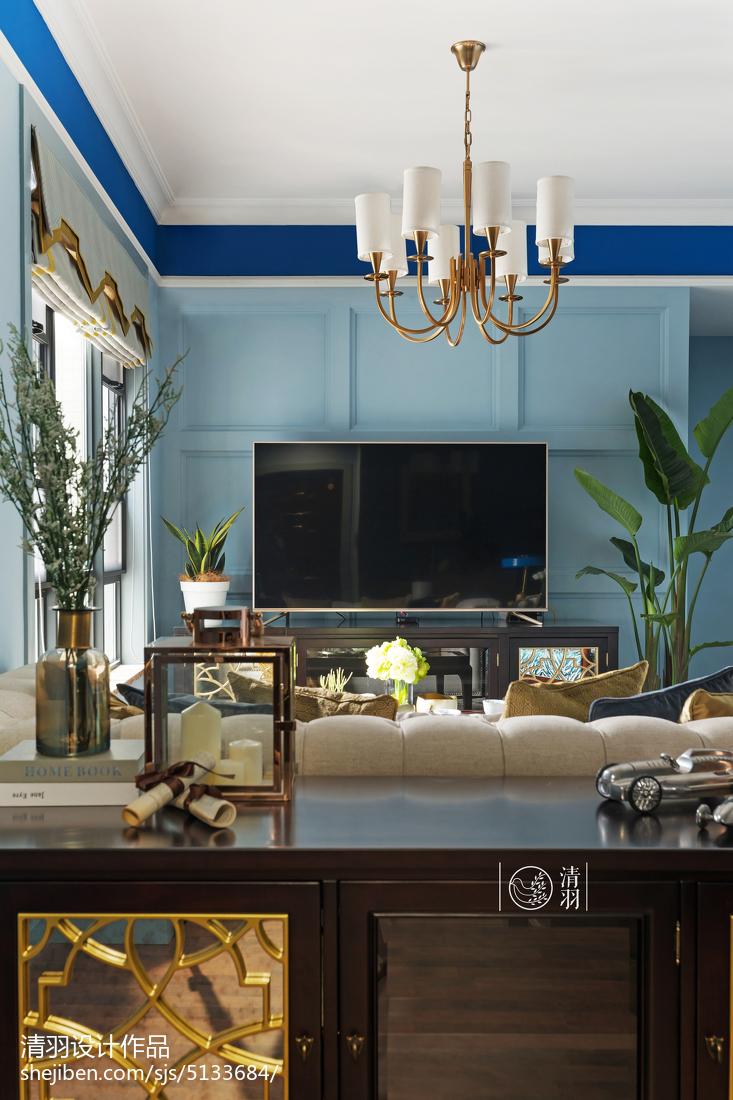 热门面积100平美式三居客厅装饰图片欣赏