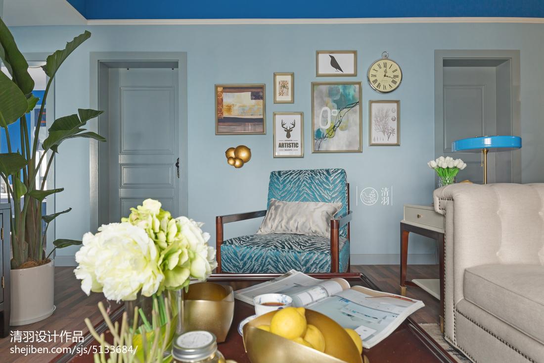 热门大小109平美式三居客厅效果图片欣赏