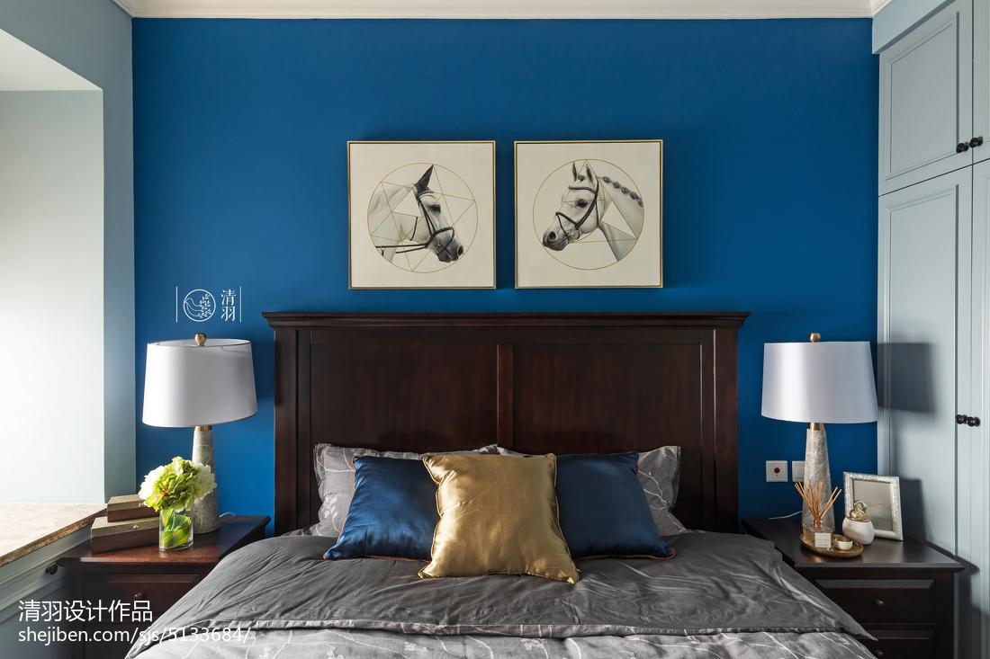 2018精选面积95平美式三居卧室装修效果图