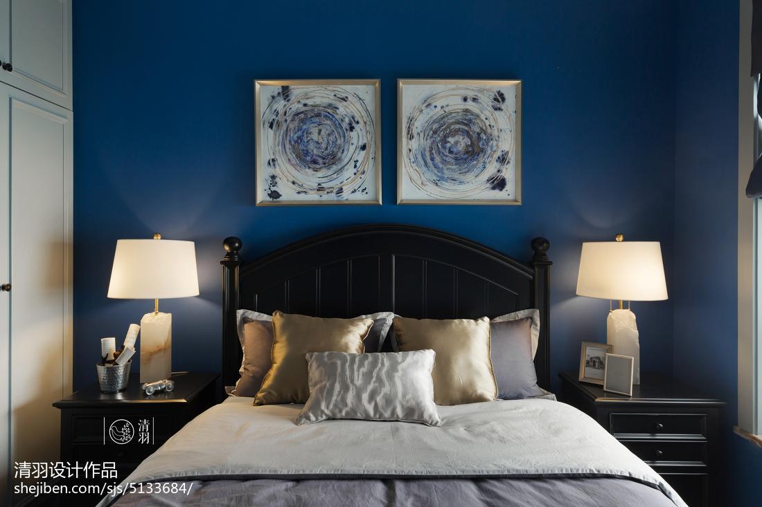 热门面积99平美式三居卧室装饰图